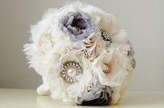 Fabric Wedding Bouquet, Handmade Fabric Bridal Bouquet,  Vintage Wedding  Bouquet, Brooch Bouquet via Etsy