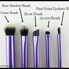 Real Techniques Brush Set (4) Set only includes FOUR brushes (using 1st pic as reference) - Deluxe crease, brow, base shadow brush, and eyeliner brush. All have been washed & sanitized (used 1x). Purchased from Ulta. ❌ NO HOLDS NO TRADES ❌ Real Techniques Makeup Brushes & Tools