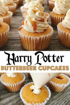A delicious and fun recipe for butterbeer cupcakes inspired by butterbeer from the Harry Potter books and movies! Butterscotch Cream Soda Cupcakes filled with creamy butterscotch whipped cream and topped with flaky Cream Soda Vanilla Buttercream Frosting! Brownie Desserts, Oreo Dessert, Köstliche Desserts, Delicious Desserts, Dessert Recipes, Yummy Food, Dessert Healthy, Gourmet Cupcake Recipes, Delicious Cupcakes