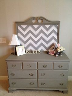Vintage dresser redone.. Old mirror turned into bulletin board - Anna Berry Design LLC