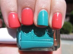 Essie's Naughty Nautical (teal) and Sunday Funday (coral) nail polish.  Fun shimmery colors for summer!  http://polishimpressrepeat.blogspot.com/2013/06/essies-naughty-nautical-collection.html