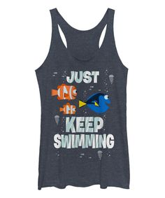 Look what I found on #zulily! Heather Navy Finding Dory 'Just Keep Swimming' Tank - Juniors by Pixar #zulilyfinds