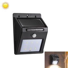[$7.48] 5.5V 6 LED White Light Outdoor Solar Motion Sensor Light for Yard / Garden / Stairs / Outside Wall(Black)
