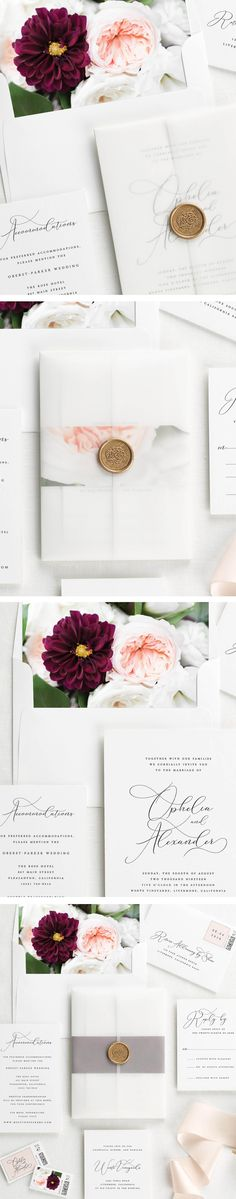 Ophelia Vellum Wedding Invitations with Floral Liner and Wax Seal