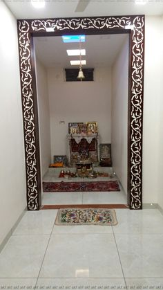 Pooja Room Designs made of plywood in private space Living Room Partition Design, Living Room Tv Unit Designs, Room Partition Designs, Bedroom Cupboard Designs, Hall Interior, Home Interior Design, Design Marocain, Temple Design For Home, Pooja Room Door Design