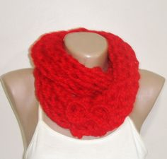 Hand Knitted red scarf Women's Scarf infinity Scarf by earflaphats, $24.99