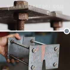 A bearing puller or bearing removal tool is a tool used to remove bearing from a rotating machine shaft or from a blind bearing hole. The most common use is removing a caged set of ball or bearings from a rotating machine shaft. These bearing removal tools are made of tool grade steel, so bearing removal tools are harder than the parts they are used on. Bearing removal tools are usually hand-powered with a handle provided on the turn screw. Drilling Holes, Angle Grinder, Removal Tool, Diy Tools, Blinds, Door Handles, How To Remove, Homemade, Steel