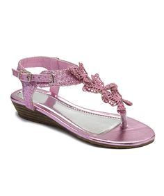 Look at this #zulilyfind! Ameta Pink Butterfly Glitter Sandal by Ameta #zulilyfinds