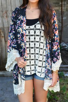 Midnight Arbor Kimono :: $38 :: www.ShopGroovys.com :: bright floral print, black background kimono, ivory lace trim