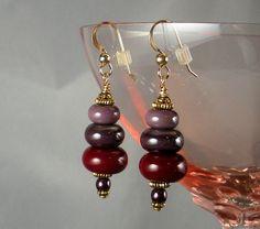Beadweaving Earrings w/ Burgundy and Plum Lampwork by TheHighBead,