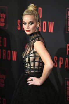 """Jennifer Lawrence Photos - Jennifer Lawrence attends the """"Red Sparrow"""" New York Premiere at Alice Tully Hall at Lincoln Center on February 2018 in New York City. - Jennifer Lawrence Photos - 113 of 8725 Jennifer Lawrence Red Sparrow, Jennifer Lawrence Photos, Old Actress, American Actress, Jennifer Laurence, Dior Gown, Hair Knot, Dramatic Look, New York"""