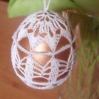 Crochet Doily Patterns, Crochet Doilies, Christmas Bulbs, Christmas Crafts, Egg Tree, Crochet Ornaments, Easter Crochet, Fabric Yarn, Bead Crafts