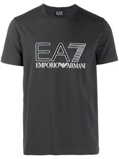 Dark grey stretch cotton logo print T-shirt from Emporio Armani featuring a round neck, short sleeves, a relaxed fit and a straight hem. Emporio Armani, Armani Grey, Armani Logo, Shops, Cotton Logo, My T Shirt, Size Clothing, Women Wear, Short Sleeves