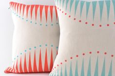 Screen printed Cushion - Circus Triangles in Coral £40.00