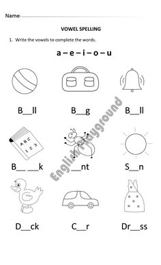 Vowel Spelling Worksheet for 6 and 7 years old. Spelling Worksheets, Spelling Words, Activities For 5 Year Olds, Australia Crafts, Teacher Must Haves, Preschool Curriculum, Preschool Worksheets, Homeschool, 6 Year Old