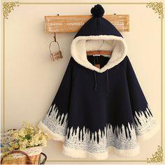 Japanese cute hooded cape coat