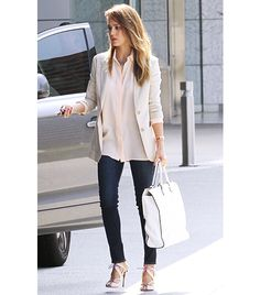 Jessica Alba  Valentino Ivory Embroidered Double Handle Bag ($4595)don't care about overpriced bag, that outfit- perfect!