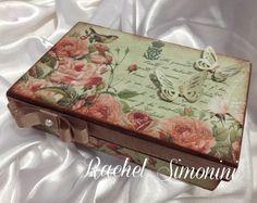 Caixa verde e rosa - arte com scrapdecor - Rachel Simonini