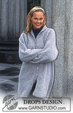 Free knitting patterns and crochet patterns by DROPS Design Sweater Knitting Patterns, Coat Patterns, Knitting Stitches, Knitting Designs, Free Knitting, Drops Design, Knitted Coat, Lightweight Cardigan, Sweater Weather