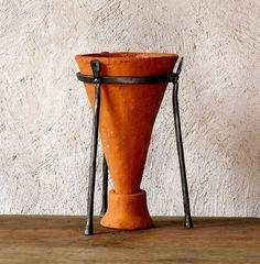 Ceramic Planter cone pot iron stand rustic planter by GlinkaDesign