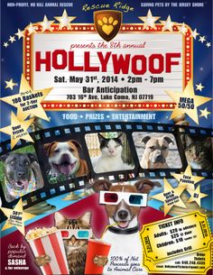Join us at Hollywoof! 5/31 - 2-7 pm Bar Anticipation, Lake Como, NJ.  Over 100 baskets for two-tier auction. Food, prizes, entertainment. Adults $20 in advance; $25 at door. Children under 12 $10. Includes grill. Call 646-248-4335 or email HollywoofTickets@gmail.com.