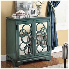 Teal Circle Mirror Chest at Big Lots. wonderful choice, great color, my fav. and love the mirror look. great for entry way