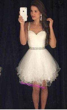 Bg208 Cute Prom Dress,White Prom Dress,Tulle Homecoming Dress,Short Homecoming Dress,Mini Homecoming Dress,Homecoming Dressees 2016