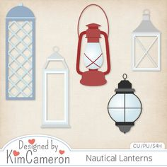 Nautical Lanterns - Layered PSD Templates with PNG by Kim Cameron for Digital Scrapbooking #CUDigitals