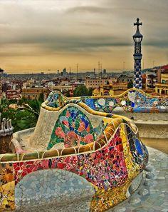 Wall by Gaudi in Barcelona Spain