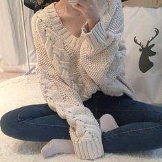 Joker Braided Knitting Plus Size Sweater