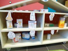 Winkelinrichting: op de doos kleven waarvoor de medicijnen dienen en dan voorschriften maken met dezelfde picto's op, zodat de kls rollenspel kunnen opbouwen. (soort boodschappenlijst)