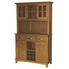 Home Styles Three-Drawer 44 in. W Cottage Oak Buffet with Cottage Oak Wood Top and Hutch-5100-0066-62 at The Home Depot