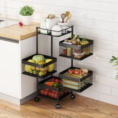 Large Storage Baskets, Basket Shelves, Storage Shelves, Basket Storage, Fruit Storage, Produce Storage, Storage Ideas, Kitchen Vegetable Storage, Vegetable Rack
