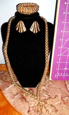 3 pc lot of Vintage to mod Parure set of necklace and bracelet with Gold tone ER