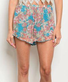 Turquoise & Mauve Floral Ruffle-Trim Shorts #zulily #zulilyfinds