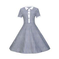 Plaid Buttoned Flare Dress - PURPLISH BLUE M