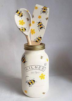 Busy Bee/Shabby Chic 1 litre Kilner Jar Kitchenwear/Homewear/House Warming/Birthday Gift by Shabby2ChicStudio on Etsy