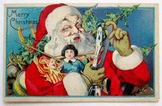 Stecher SANTA CLAUS Holds Ice Skate & Toys CHRISTMAS Postcard