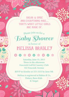 Pretty Bold Pink & Teal Floral Baby Shower