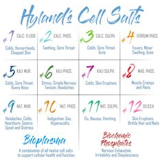 Are you interested in Hyland's #cellsalts? Here's a handy chart of all 14 of our Cell Salts products for you to use to find the right one for you. #balanceyourwellbeing #HylandsHealth #cellsalts #hylandscellsalts #tissuesalts #naturalhealth #naturalmedicine #balanceyourlife #schuessler #homeopathy #homeopathyworks #balance #cellularhealth