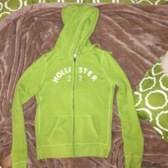 Hollister green zip up sweatshirt / hoodie Worn once, bright and fun color! Hollister Jackets & Coats