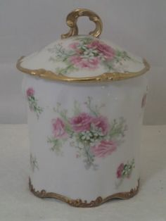ANTIQUE FRENCH J POUYAT LIMOGES FRANCE PORCELAIN GILT CONDENSED MILK CONTAINER