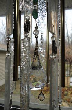 A Winter Garden Stained Glass Windchimes by JewelsInTheGarden, $155.00