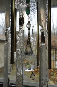 A Winter Garden Stained Glass Windchimes by JewelsInTheGarden, $155.00