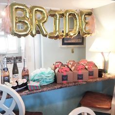 Bachelorette Decor | Bride Balloons | Favor Boxes | Tassels | Pretty in the Pines | www.prettyinthepines.com