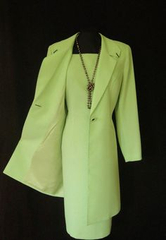 CONDICI 2 Piece, Light Green, Lined, Short Sleeved, Fitted Dress and Long Jacket/Coat with Navy Top Stitching, size UK14