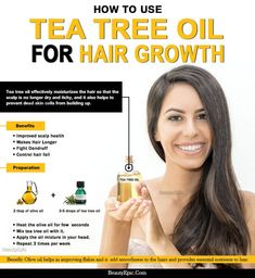 Tea tree oil is the most safest oil for our hairs as it do not have any harmful properties in it. Here is how to use tea tree oil for hair growth. Hair Growth Mask Diy, Hair Remedies For Growth, Hair Growth Oil, Tea Tree Oil Uses, Tea Tree Oil For Acne, Make Hair Longer, How To Make Hair, Coconut Oil Tea, Living At Home