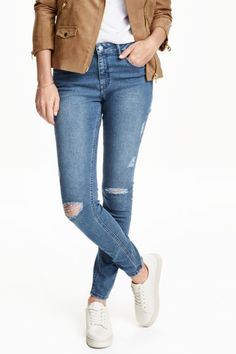 jeans in washed superstretch twill with a denim look. Heavily distressed details, regular waist, and slim legs. H&m Online, Slim Legs, Capsule Wardrobe, Farmer, Blue Denim, Fashion Online, Kids Fashion, Casual Outfits, Leather Jacket