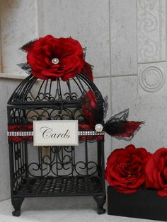 Red and Black Wedding Birdcage Card Holder / Wedding by ThoseDays