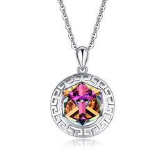 Firewings Silver Necklace Mother /& Child Pendants Purple Crystal